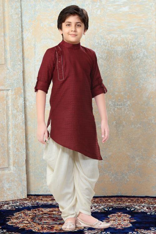 Boys Indian Kurta Pajama Art Silk Party Wear Kurta Pajama