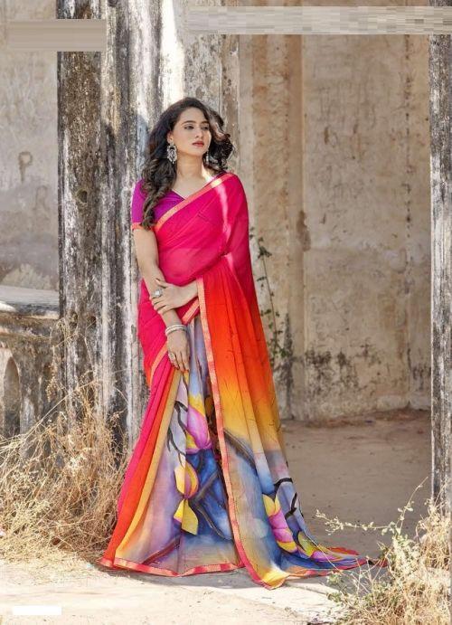 Hirva Bikhre Rang Georgette Wear Saree Collection