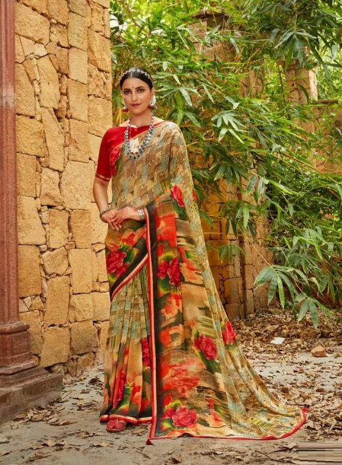 Laxminam Urvi Casual Wear Printed Georgette Saree Collection