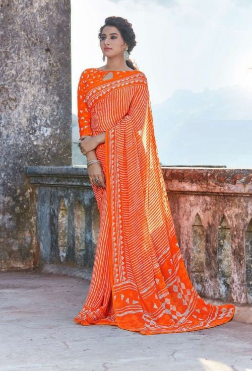Hirva Shining Casual Wear Georgette Saree Collection