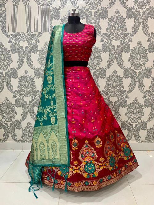 Simran Lehenga 10 Party Wear Designer Banarasi Silk Lehenga