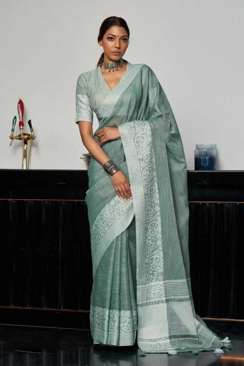 Sangam Glory Linen Thread Work Saree Collection