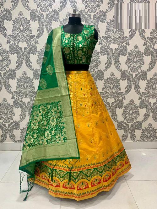 Simran Lehenga 11 Party Wear Designer Banarasi Silk Lehenga