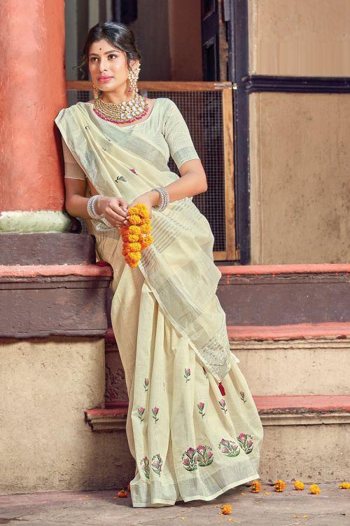 Sangam Nayra Linen Cotton Embroidery Saree Collection