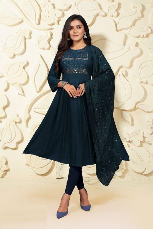 Prashashti 5 Ethnic Wear Sequence Anarkali Long Kurti With Dupatta