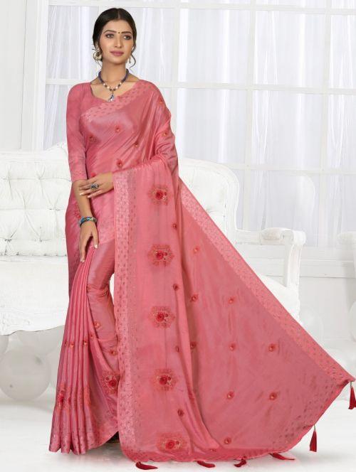 Ronisha Pure Look Chinon Patta Exclusive Saree Collection