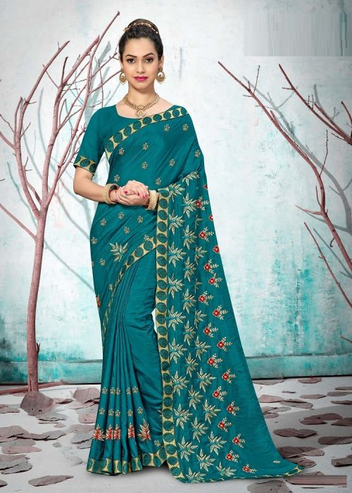 Laxminam Mongo Dolly Party Wear Vichitra Silk Saree Collection