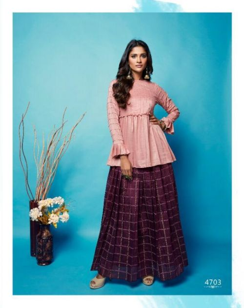 Nitara Sparkles Nx Western Style Party Wear Top With Skirt