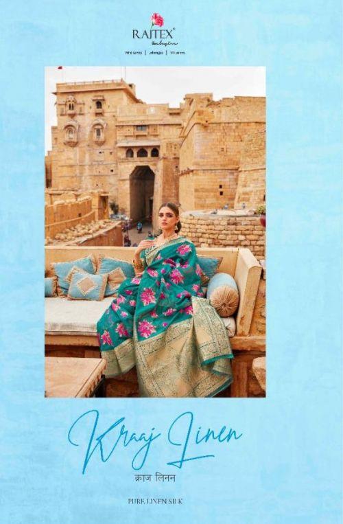 Rajtex Kraaj Linen Wedding Wear Pure Taspa Linen Saree Collection