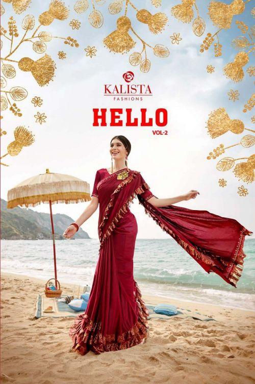 Kalista Hello 2 Festive Wear Lycra Ready Made Saree