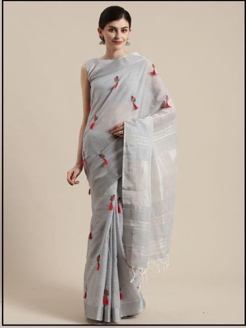 Flex 5 Festive Wear Linen Blend Saree Wholesaler
