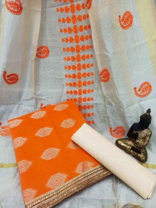 Rnx Bindiya 1005 Banarasi Cotton Dress Material