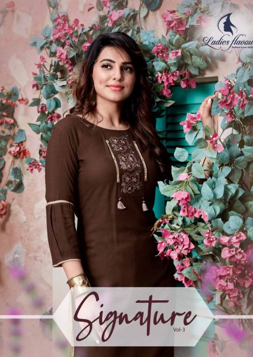 Ladies Flavour Signature 3 Heavy Rayon Casual Wear Kurti With Bottom