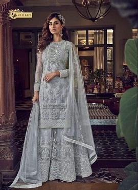 Swagat Violet Snow 6607 White Series Desginer Wedding Wear Salwar Suits