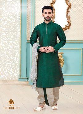 Designer Dupion Silk Festive Wear Kurta With Dhoti Mens Wear Collection