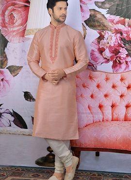 Designer Embroidery Work Festive Wear Kurta With Pajama Mens Wear Collection