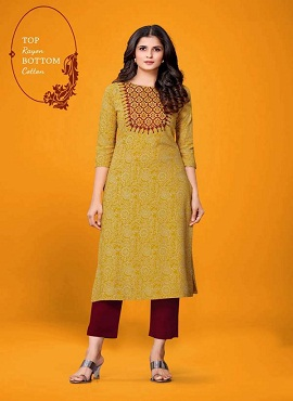 Pant 2 Yellow Desinger Casual Wear Kurti With Bottom Collection