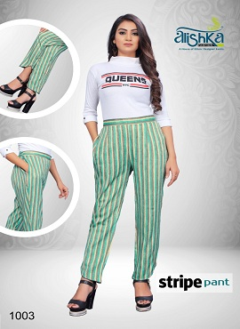 Alishka Stripe Pant Heavy Rayon Slub Pant Collection