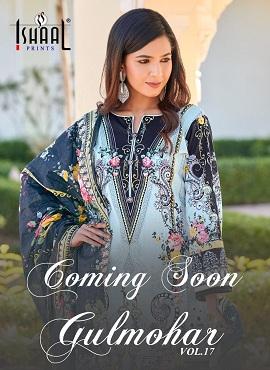 Ishaal Gulmohar 17 Pure Lawn Karachi Dress Materials Collection