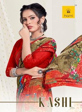 Harni Kashi Regular Wear Printed Georgette Sarees Collection