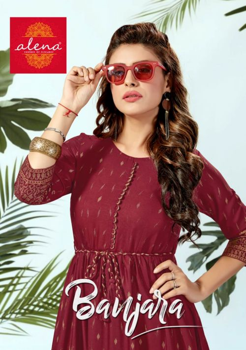 Alena Banjara Cozy Ethnic Wear Vibrant Rayon Long Kurti Collection