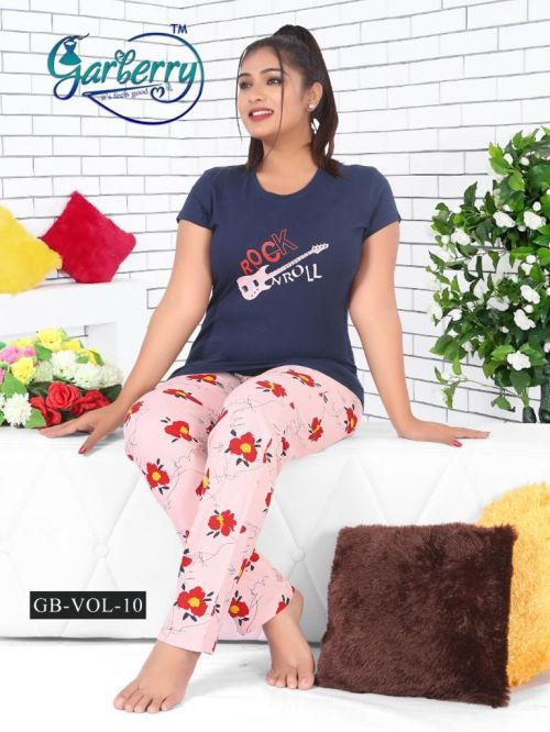 Garberry 10 Pure Cotton Printed Full Nightsuits Collection