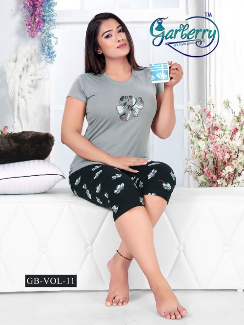 Garberry 11 Pure Cotton Short Printed Nightsuits Collection