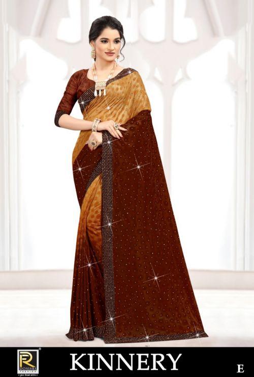Ronisha Kinnery Fancy Festive Wear Brasso Saree Collection