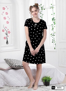 Colour 9 Short Nighty Hoisery Cotton Western Night Suits Collection