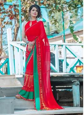 Hirva Sakshi 7 Fancy Printed Georgette Sarees Collection