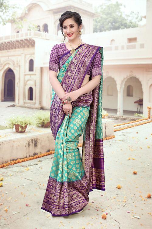Bk 8482 Casual Wear Silk Weaving Banarasi Sarees Collection