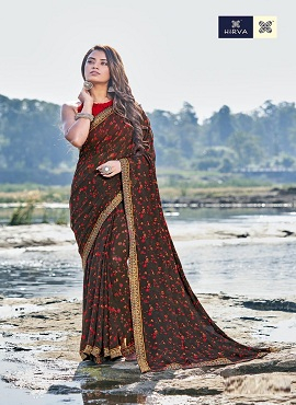 Hirva Blessing Fancy Casual Wear Printed Georgette Sarees Collection