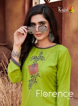 Kajri Florence 2 Heavy Work Rayon Designer Kurtis Collection