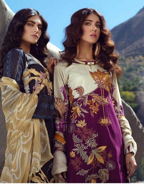 Emaan Adeel 3 Pure Lawn Karachi Cotton Dress Material