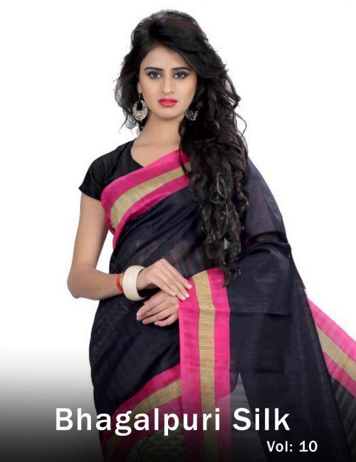 Lakshya Bhagalpuri Vol 10 Fancy Designer Casual Wear Printed Bhagalpuri Silk Saree Collection