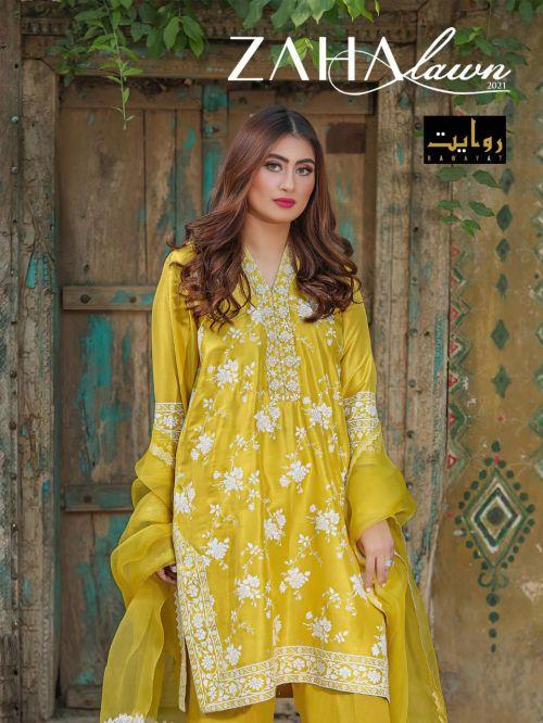 Rawayat Zaha Lawn Collection 2021 Pure Cotton Pakistani Salwar Suits Collection