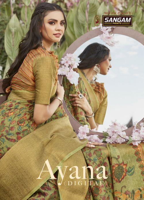 Sangam Ayana Linen Silk Digital Printed Sarees Collection