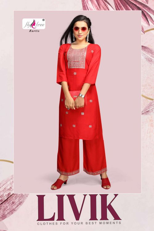 Fly Free Livik Ethnic Wear Kurti With Plazo Collection