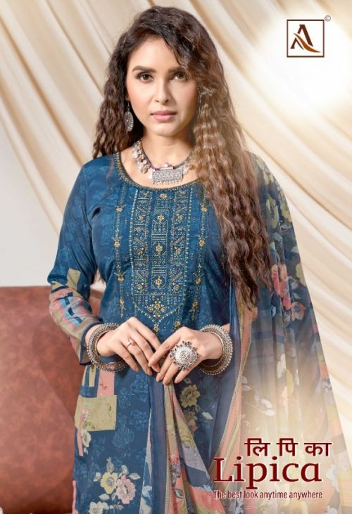 Alok Lipika Digital Print With Embroidery Work Dress Material Collection