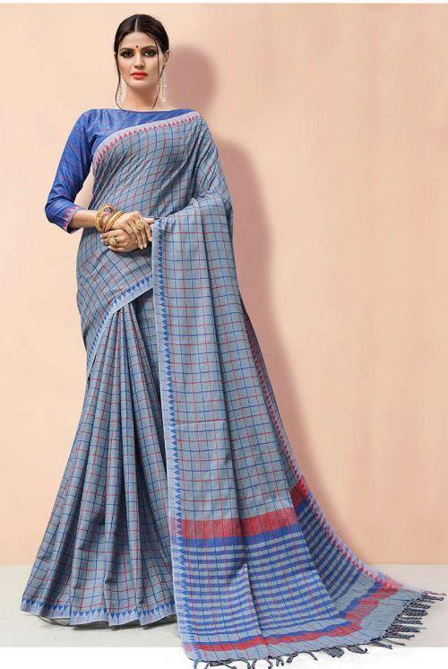 Sangam Linen Handloom Designer Linen Cotton Saree