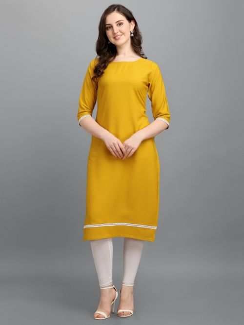 Zipio Lace Casual Wear Malai Crepe Designer Kurti Collection