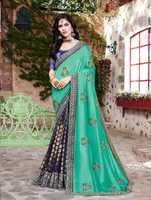 Kalista Sangeet Gold Wedding Wear Embroidery Worked Saree
