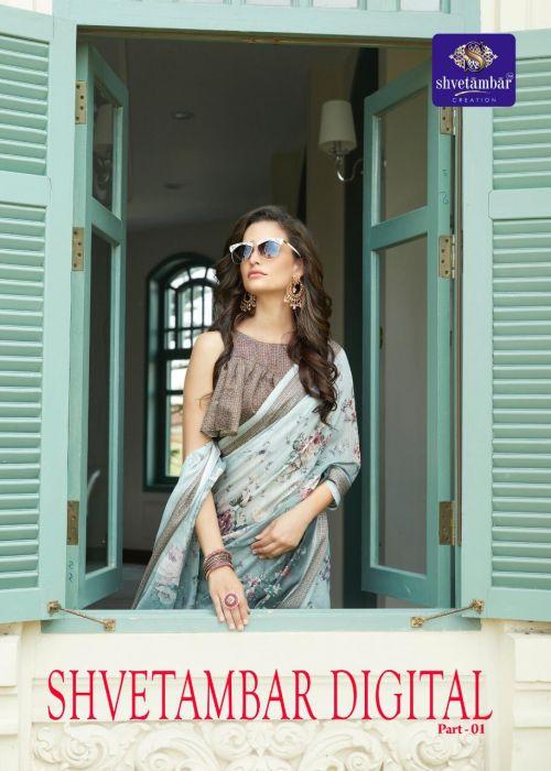 Aura Shvetambar Digital Linen Saree Collection
