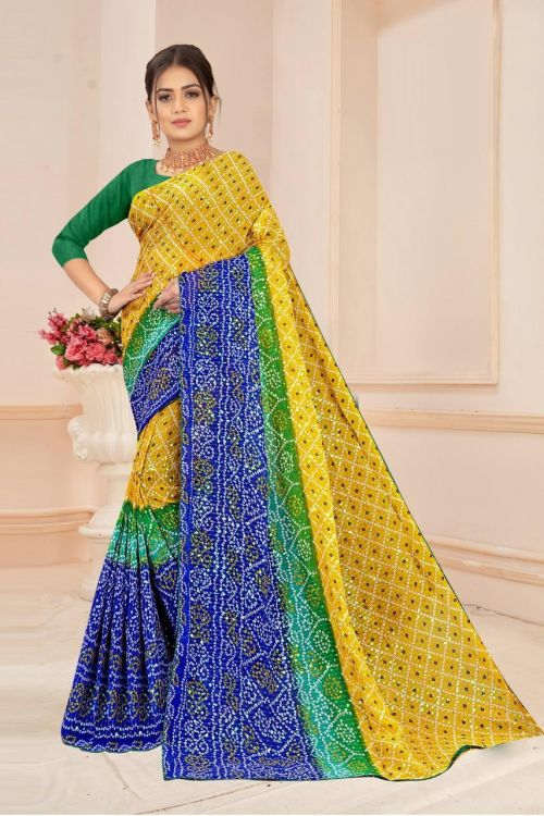Angel 6 Georgette Sequence Bandhej Saree Collection