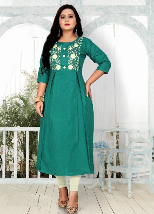 Embro Cotton Heavy Embroidery Work Kurti Collection