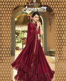 Kalista Senorita Ruffled pattern fancy fabrics sarees full catalog
